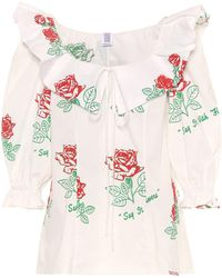 Rosie Assoulin - Floral Printed Cotton Blouse - Lyst