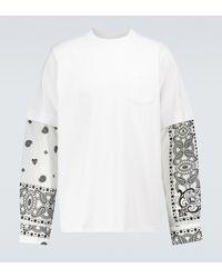Sacai Bedrucktes Langarmshirt Archive - Weiß
