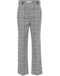 Veronica Beard Isley High-rise Checked Cotton-blend Trousers - Multicolour