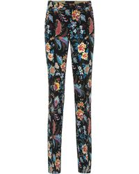 Etro Printed Silk-crêpe Straight Pants - Black