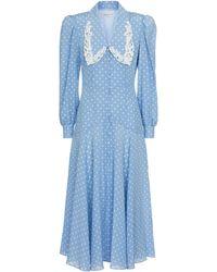 Alessandra Rich Robe midi en soie à pois - Bleu