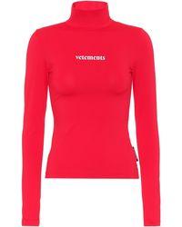 Vetements Logo Turtleneck Top - Red