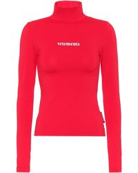 Vetements Top de cuello alto con logo - Rojo