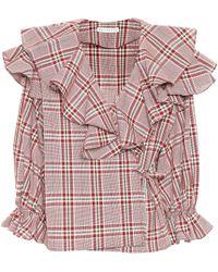 Rejina Pyo Plaid Cotton Wrap Top - Multicolour