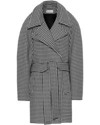 Balenciaga Houndstooth Wool And Cashmere Coat - Black