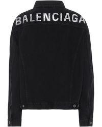 Balenciaga Logo Embellished Denim Jacket - Black