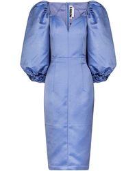 ROTATE BIRGER CHRISTENSEN Vestido midi Irina de jacquard - Azul