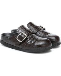 JOSEPH Croc-effect Leather Slippers - Black