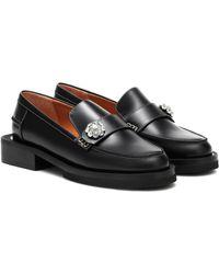 Ganni Jewel Leather Loafers - Black