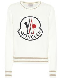 Moncler Logo-embroidered Wool And Cashmere-blend Sweater - White