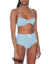 Solid & Striped Top bikini The Ginger a righe - Blu