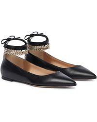 Gianvito Rossi Embellished Leather Ballet Flats - Black