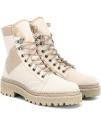 Balmain Canvas Ankle Boots - Natural