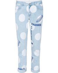 Stella McCartney Cropped Jeans mit Print - Blau