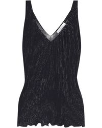 Chloé Ribbed-knit Stretch-cotton Tank Top - Blue