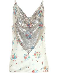 Paco Rabanne Floral Chain-mail Camisole - White