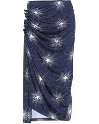 Paco Rabanne Printed Jersey Midi Skirt - Blue