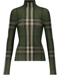 Burberry Top Vintage Check de cuello alto - Verde