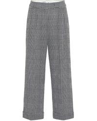 Max Mara Pantalon ample Erise en laine à carreaux - Gris