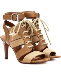 Chloé Leather And Canvas Sandals - Brown