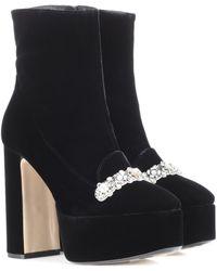 N°21 Embellished Velvet Ankle Boots - Black
