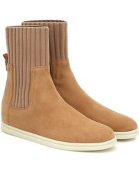 Loro Piana Cocoon Walk Suede Ankle Boots - Natural