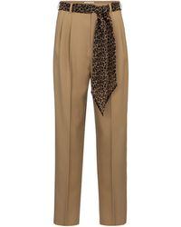 Saint Laurent Virgin Wool Gabardine Straight Trousers - Natural