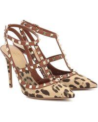 Valentino Zapatos De Salón Rockstud De Lona Con Estampado De Leopardo Con Tiras Y Tacón De 100 Mm - Marrón