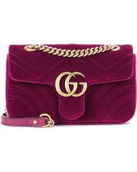 dd44d94edfb1 Lyst - Gucci GG Marmont Mini Velvet Shoulder Bag in Purple