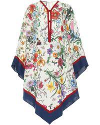 Gucci Caftán de lino floral - Multicolor