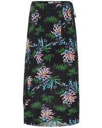 KENZO Botanical-print Wrap Skirt - Black