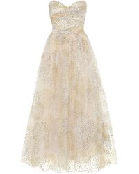 Monique Lhuillier Fireworks Strapless Tulle Gown - Metallic