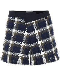 Monse Tweed And Twill Shorts - Blue