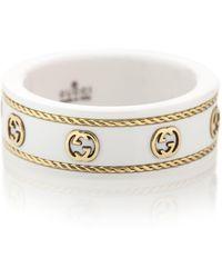 Gucci Anillo Icon Interlocking G de zirconia y oro de 18 ct - Blanco