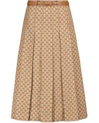 Gucci GG Printed Canvas Midi Skirt - Natural