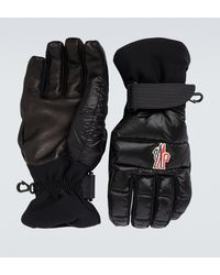 3 MONCLER GRENOBLE Guantes de tejido técnico con logo - Negro