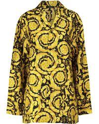 Versace Bedrucktes Pyjamahemd aus Seide - Mettallic