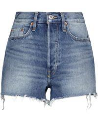 RE/DONE Shorts 70s de jeans de tiro alto - Azul