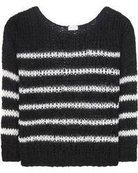 Saint Laurent - Striped Virgin Wool And Mohair-blend Sweater - Lyst