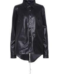 Rick Owens Drkshdw Faux Leather Shirt Jacket - Black