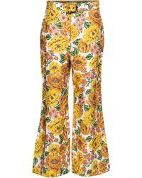 Zimmermann Poppy Floral Linen Flared Pants - Multicolor