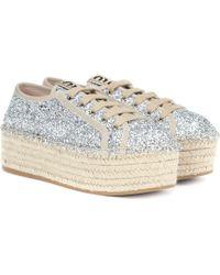 e4de27b5bfcb Miu Miu - Glitter Espadrille Sneakers - Lyst