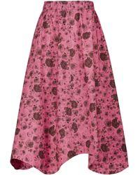 Ganni Falda midi de popelín de algodón floral - Rosa