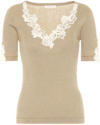 Chloé T-Shirt aus Baumwolle mit Spitze - Natur