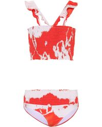 Ganni Exclusive To Mytheresa – Ipanema Smocked Bikini - Red