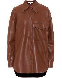 Tibi Utility Faux-leather Shirt - Brown