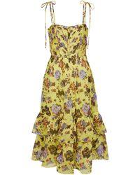 Ulla Johnson Loraine Floral Cotton-blend Midi Dress - Yellow