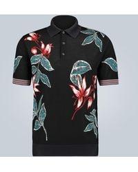 Prada Intarsien-Poloshirt aus Wolle - Schwarz