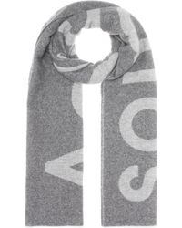 Acne Studios Bufanda Toronty Logo en mezcla de lana - Gris