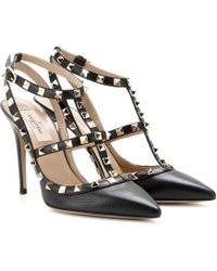Valentino Rockstud Leather Court Shoes - Black